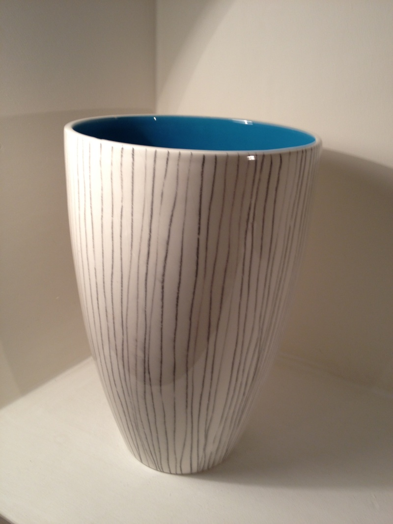 White striped vase with blue interior. Olaria de Alcobaca, Portugal 2013-077