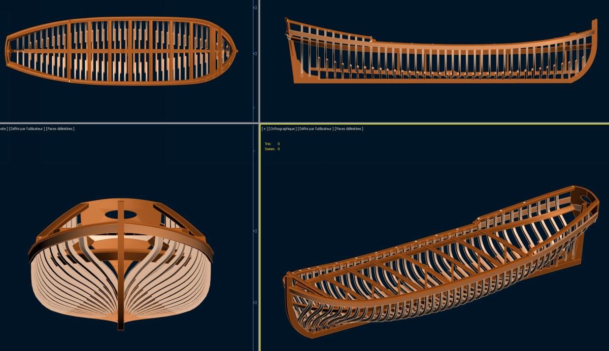 Canot d'un vaisseau du XVIII ème en 3D et en résine Screen14