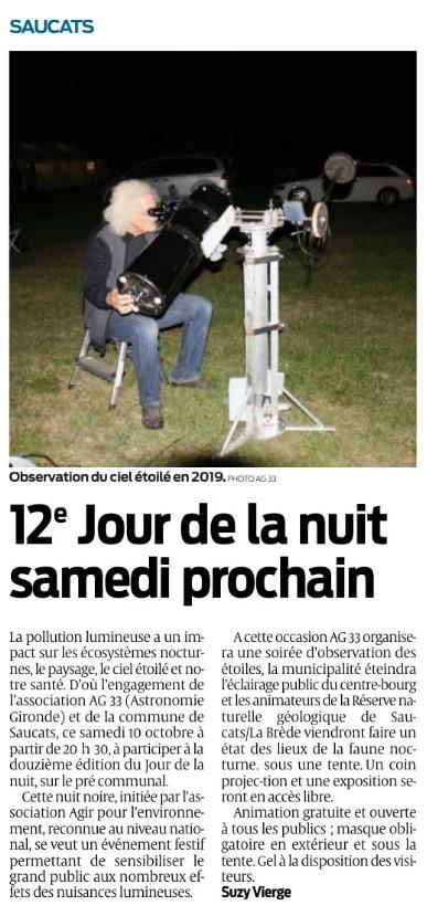 LE JOUR DE LA NUIT samedi 10 octobre 2020 à Saucats  Jour_n12