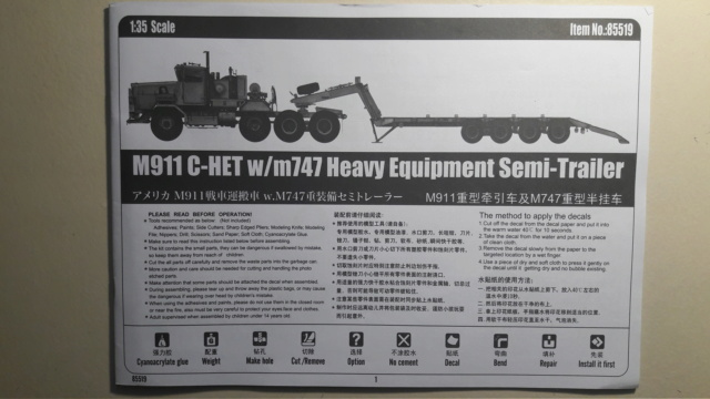 M911 C HET w/M747 HEAVY EQUIPMENT SEMI TRAILER de HOBBY BOSS AU 1/35 20200215