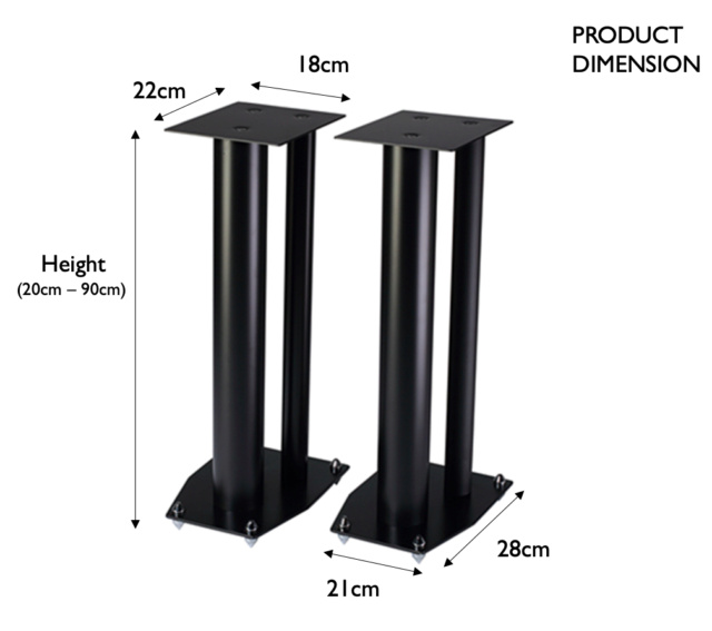 CAV Acoustic 3 column Full Metal Speaker Stand Screen35