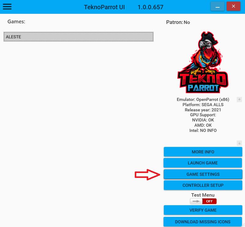 Senjin Aleste - Lancer le jeu sur PC avec TeknoParrot Tek_310