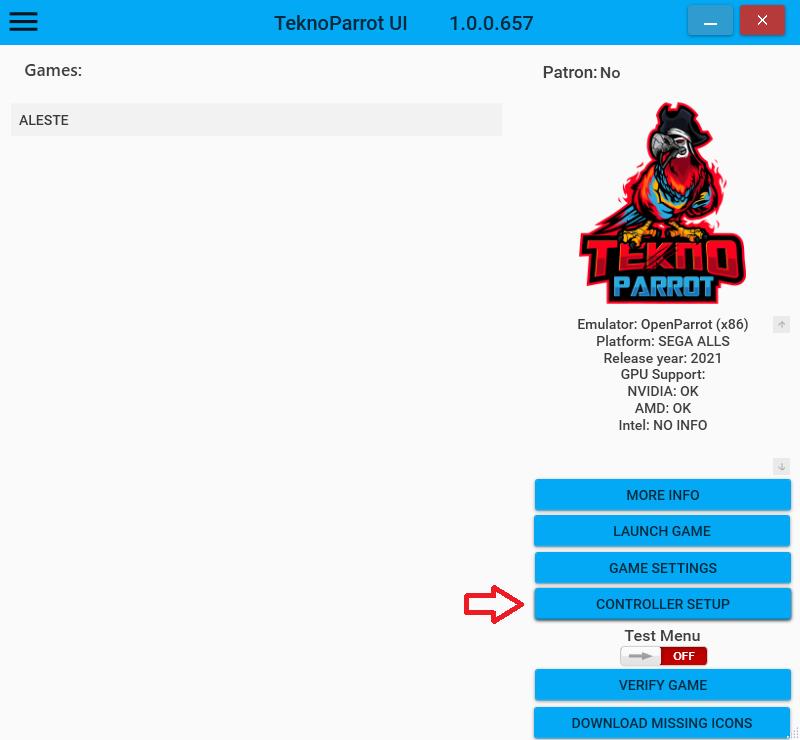 Senjin Aleste - Lancer le jeu sur PC avec TeknoParrot Tek_5_10