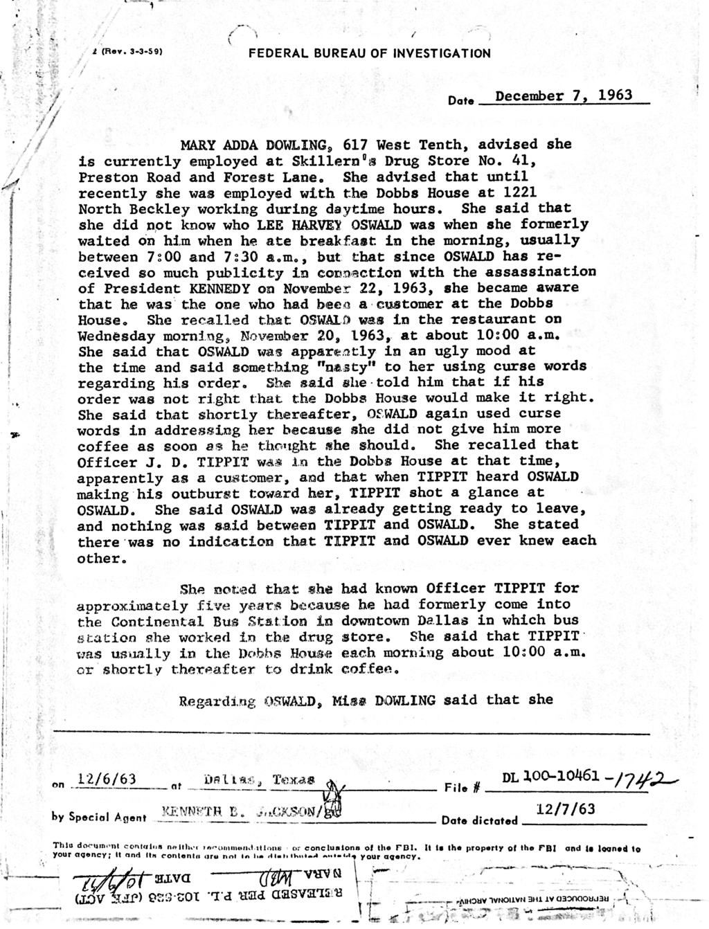 Did Oswald deny living at 1026 N Beckley?  - Page 8 D3380e10