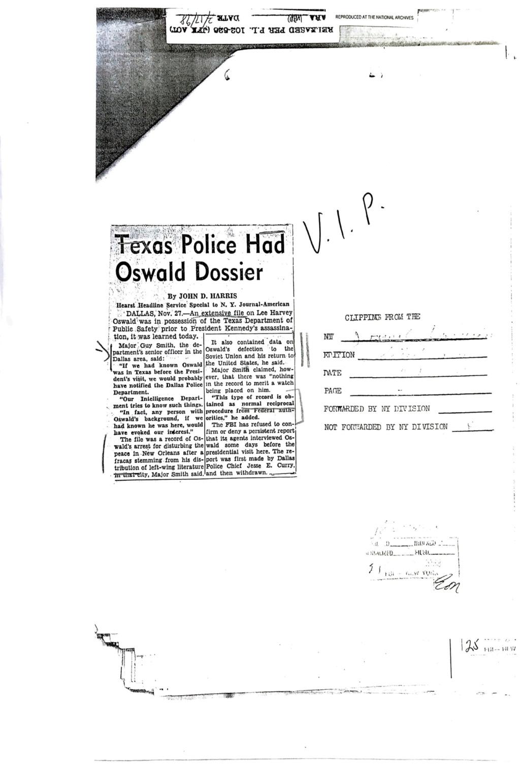 Texas Police Had Oswald Dossier F1413810