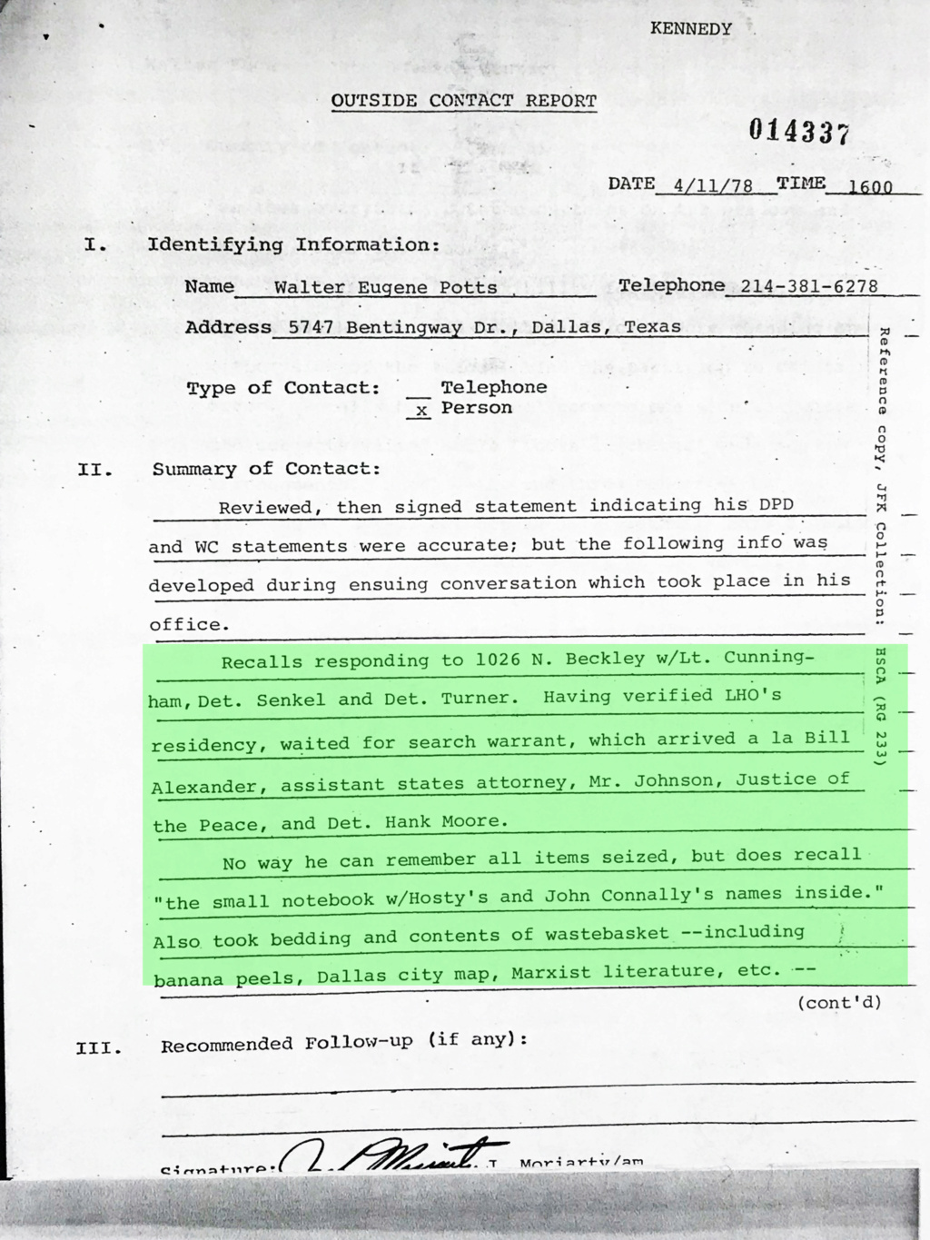 Did Oswald deny living at 1026 N Beckley?  - Page 3 Img_7923