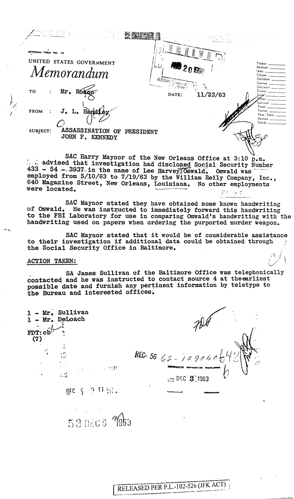 Lee Harvey Oswald Social Security No. Jun_1114
