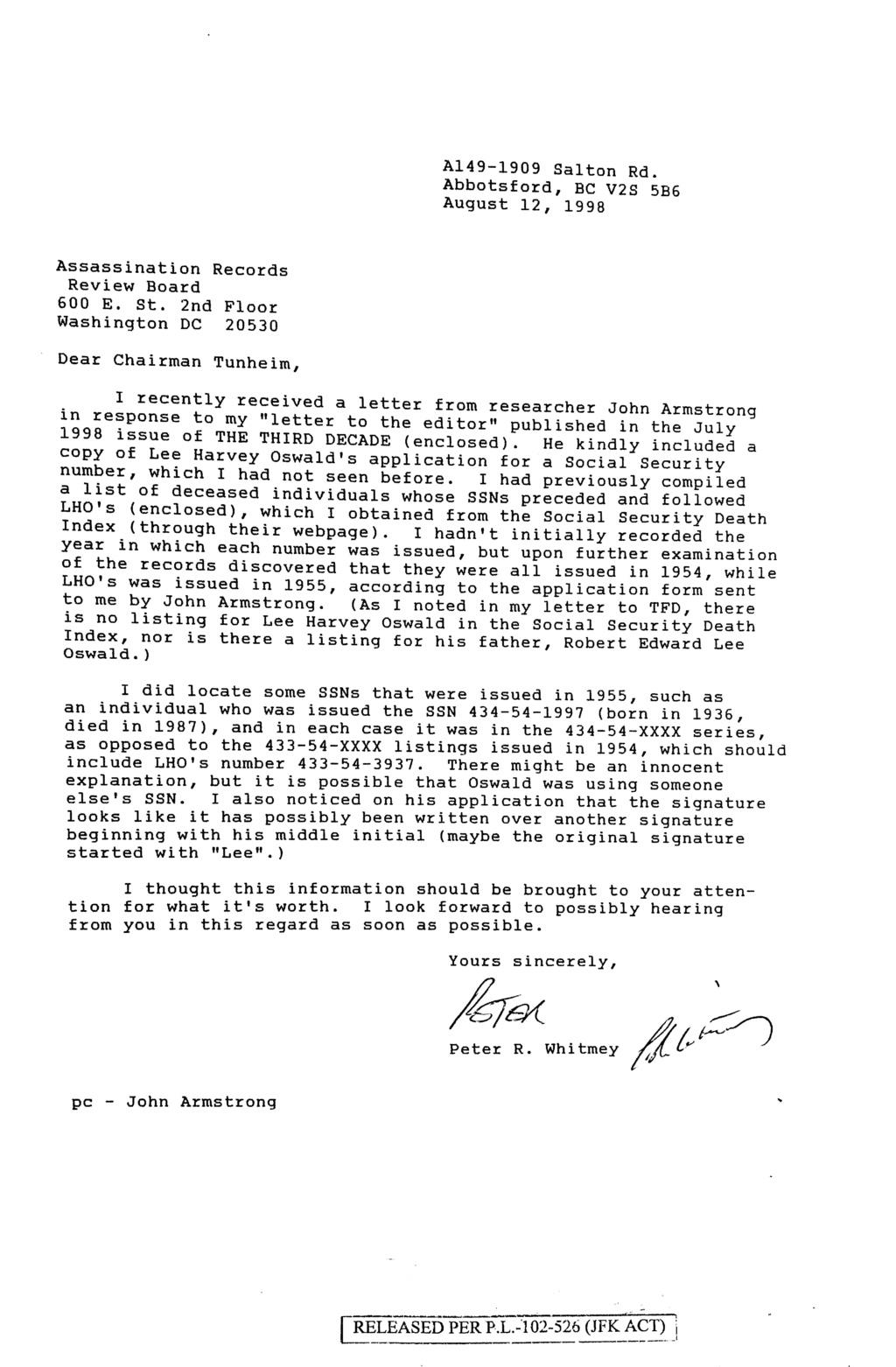 Lee Harvey Oswald Social Security No. Jun_1116