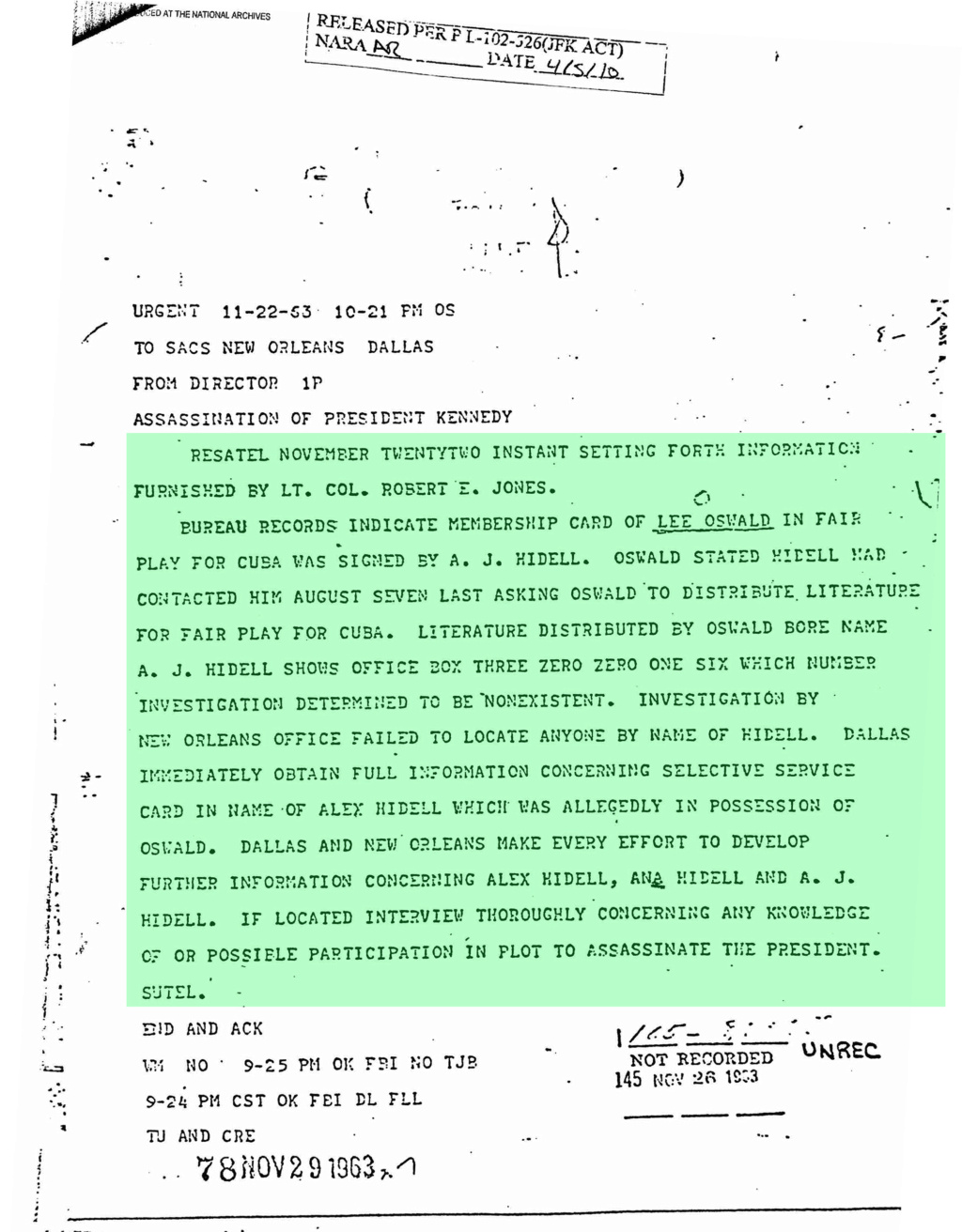 Texas Police Had Oswald Dossier Robert10