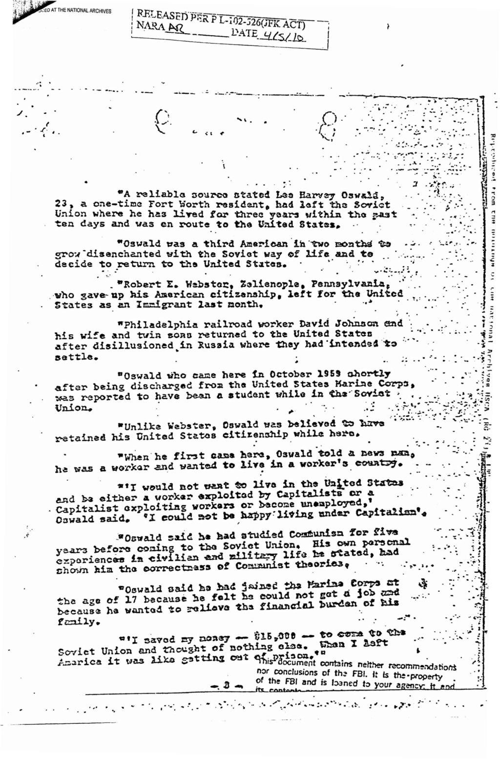 Texas Police Had Oswald Dossier Robert12