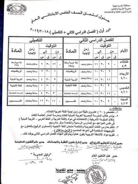 جداول امتحانات آخر العام الترم الثاني 2019 لجميع المراحل التعليمية 10510