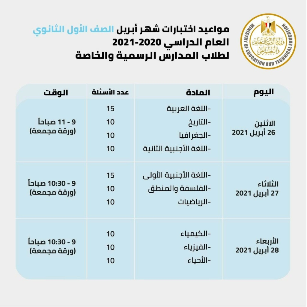 مجمعة وتستمر 3 أيام.. وزير التعليم يحسم الجدل بشأن موعد امتحانات أبريل لسنوات النقل 319