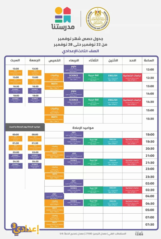 ننشر جداول شرح مناهج الأسبوع السادس للطلاب من 4 ابتدائى حتى 3 إعدادى 617