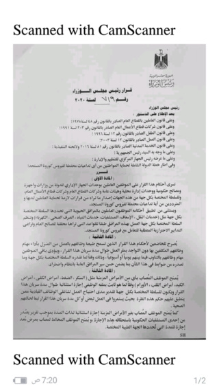 القرار الرسمي للحكومة المصرية لخطة الدولة الشاملة لحماية الموطنين 89622210