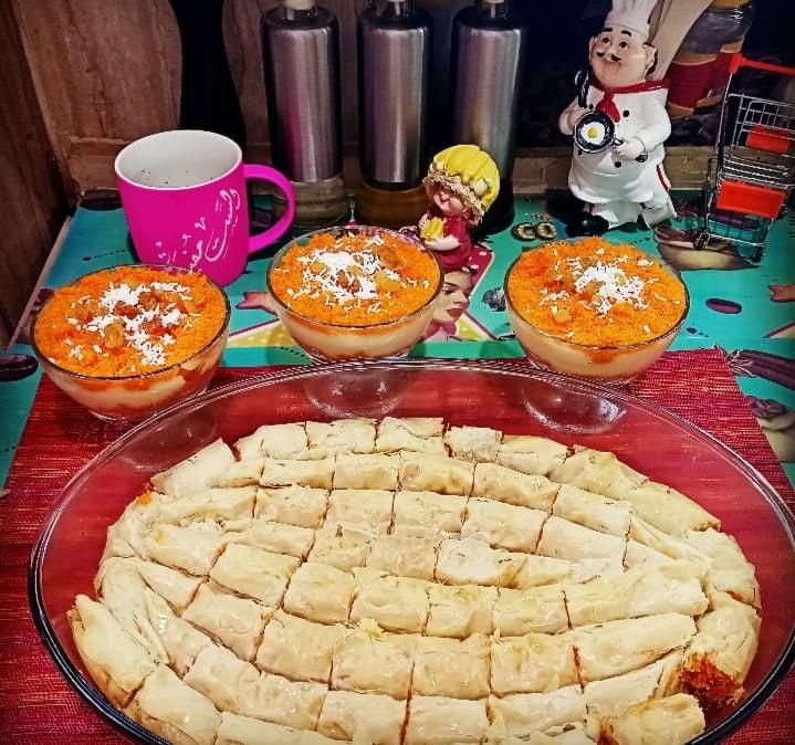 اعملي حلويات المناسبات في البيت بطعم المحلات ...الجلاش بالكنافة الملونة حصري Fewrg10
