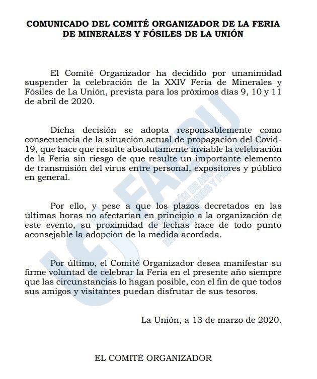 XXIV FERIA DE MINERALES DE LA UNION - 2020 B5572110