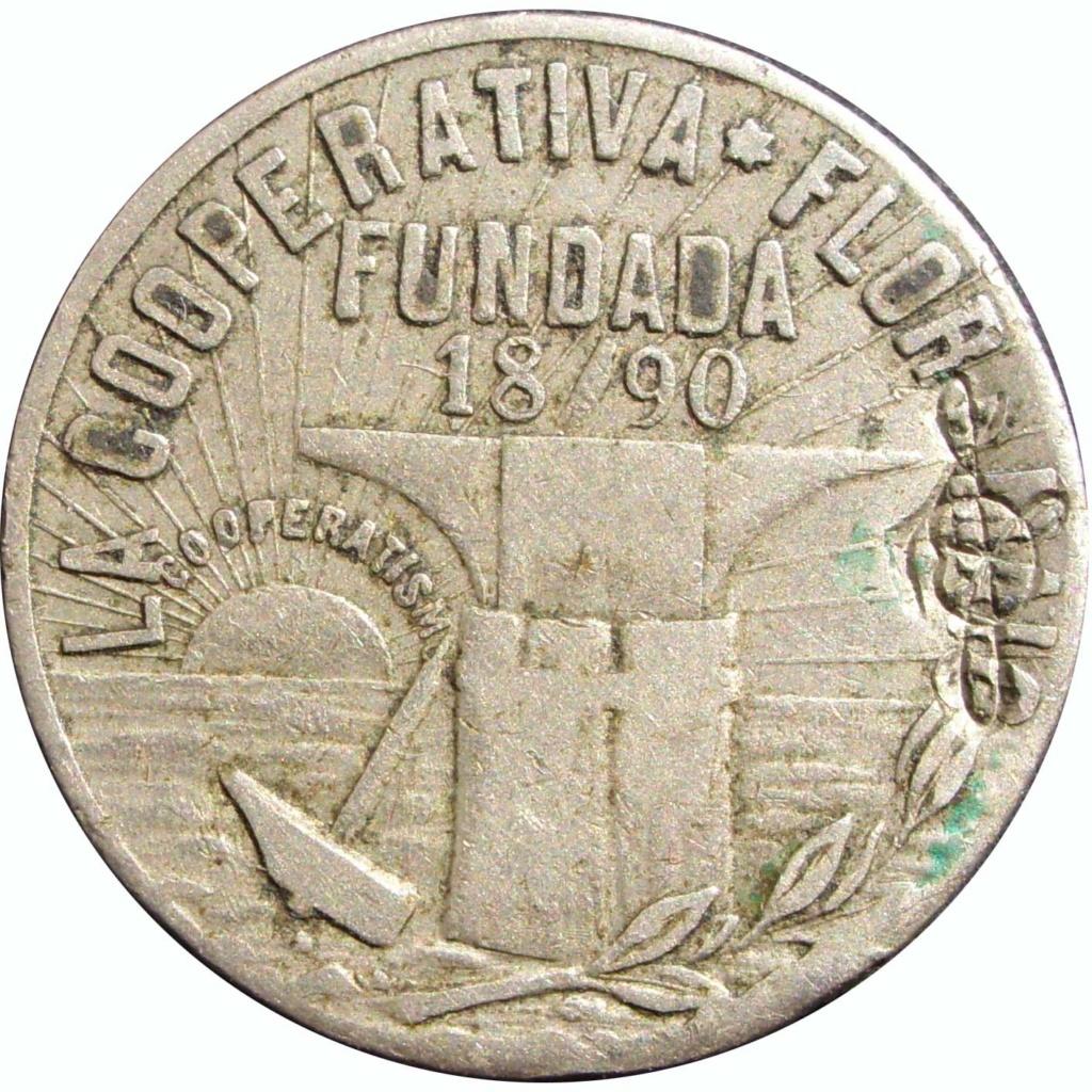"""1 Peseta 1890. Cooperativa """"Flor de Maig"""". Barcelona. Níquel. No coincidente 30_111"""
