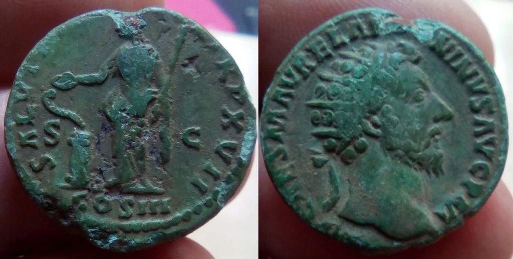 Dupondius de Marc Aurèle Salus 11110