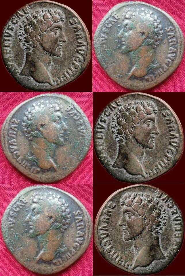 Sesterce de Marc Aurèle César buste à gauche Portra10