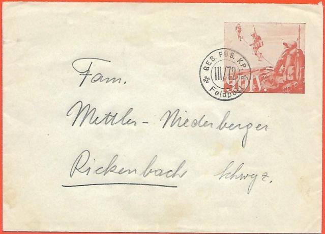 Geb.Füs.Kp. III/72 Briefumschlag mit aufgedruckter Soldatenmarke Ganzsa10