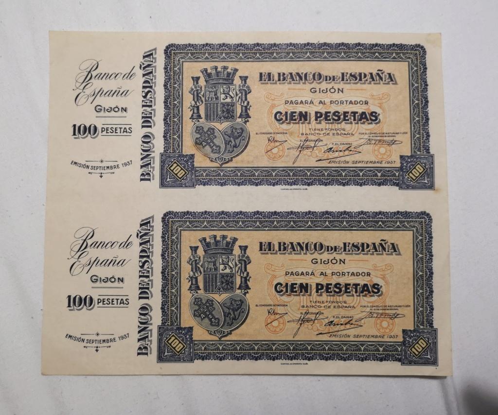 100 Pesetas septiembre 1937 Gijon. Hoja de plancha, sin numerar ni troquelar, en perfecto estado Img_2010