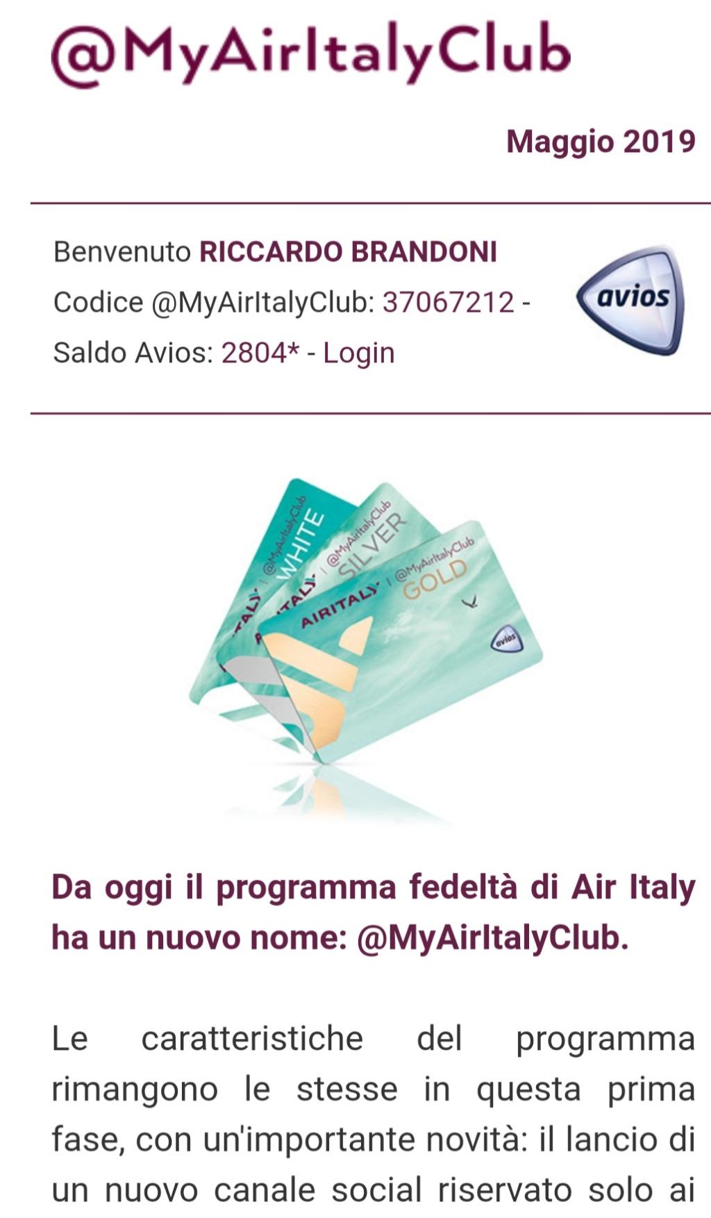 MyAirItalyClub: il nuovo programma FF di AirItaly Screen25