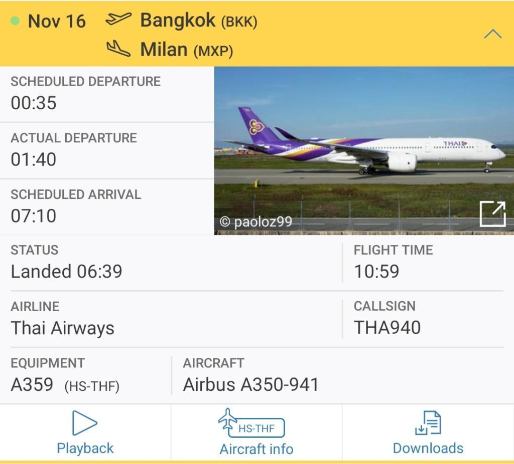 TG940 volo del 16-11 per MXP  Aeromobile HS-THF Screen34