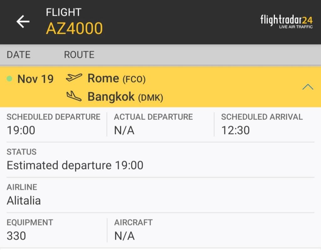 Volo AZ4000 del 19-11-19  Airbus A330 Screen35