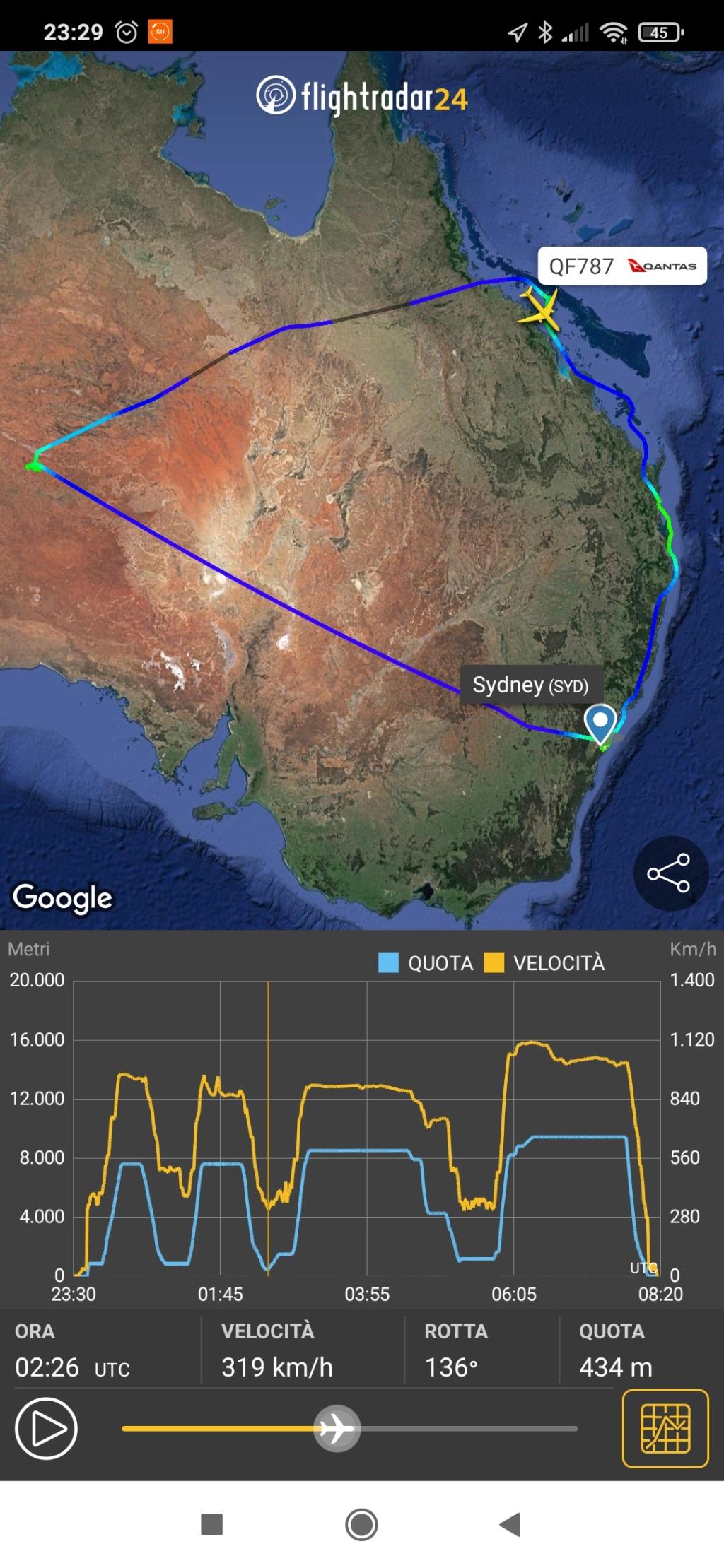 Qantas 10 ottobre 2020 volo QF787. da Sidney a Sidney 7 ore volo panoramico. Screen51