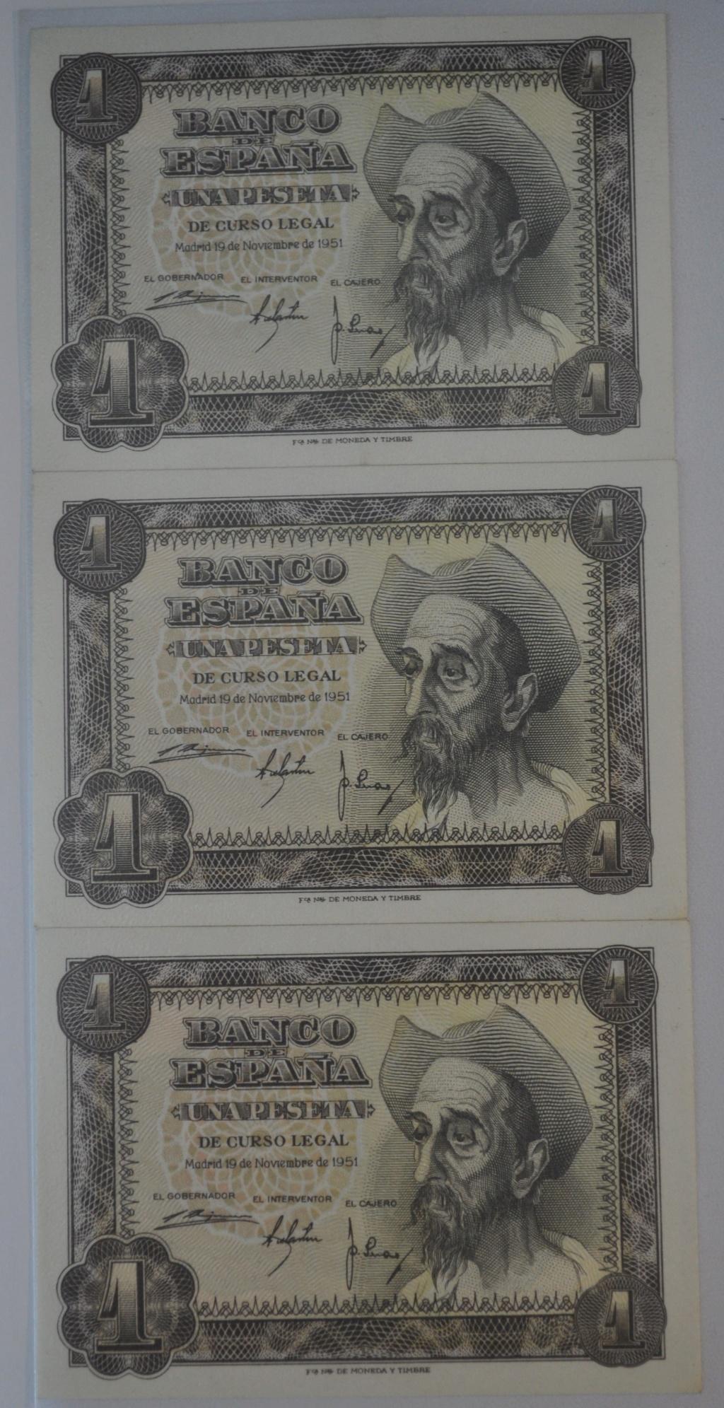 Billetes consecutivos 1 peseta 1951 serie T (última serie) Trio_111
