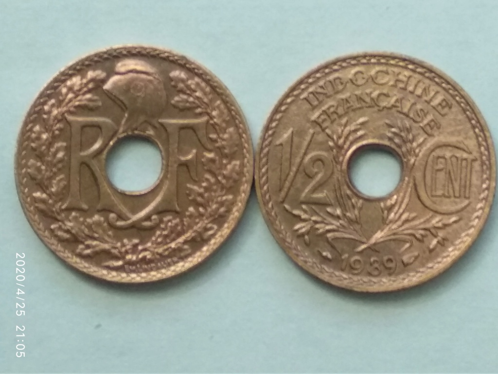 1/2 Cent 1939. Indochina Francesa. 1939_m10