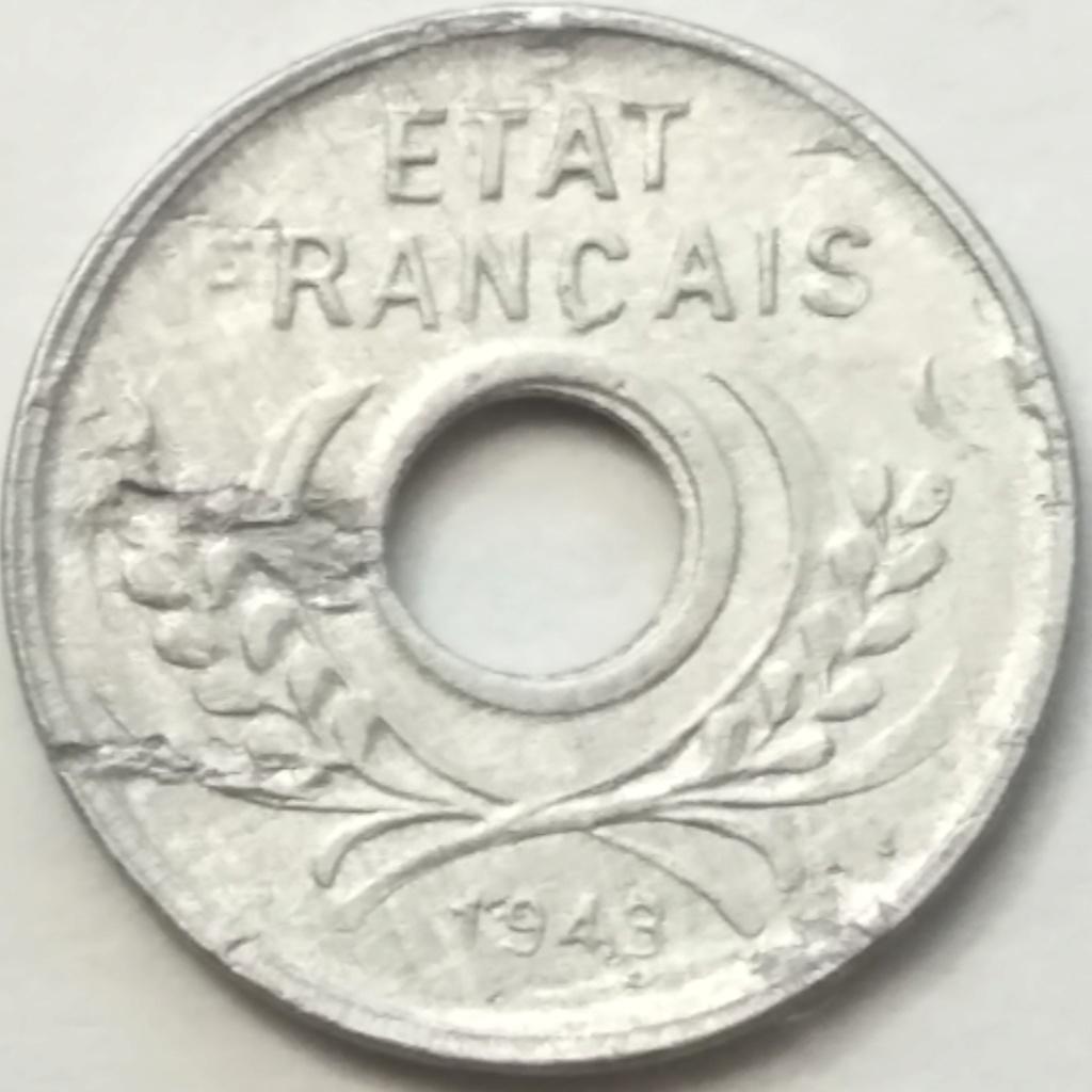 5 Centimes 1943a. Indochina Francesa 1943_511