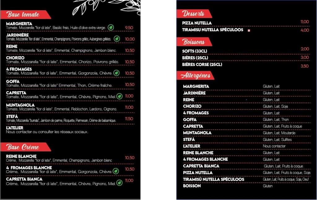 Cartes, Menus et Adhésifs de L'Atelier Pizza Page_210