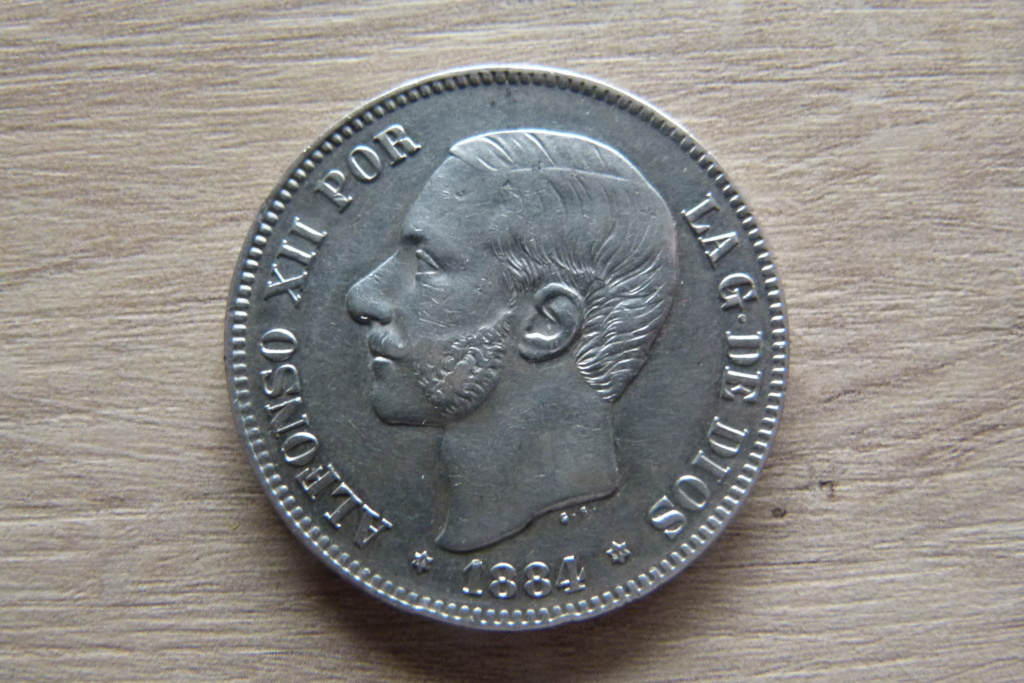 5 pesetas ALFONSO XII 1884 *18*84 M.S P1060315