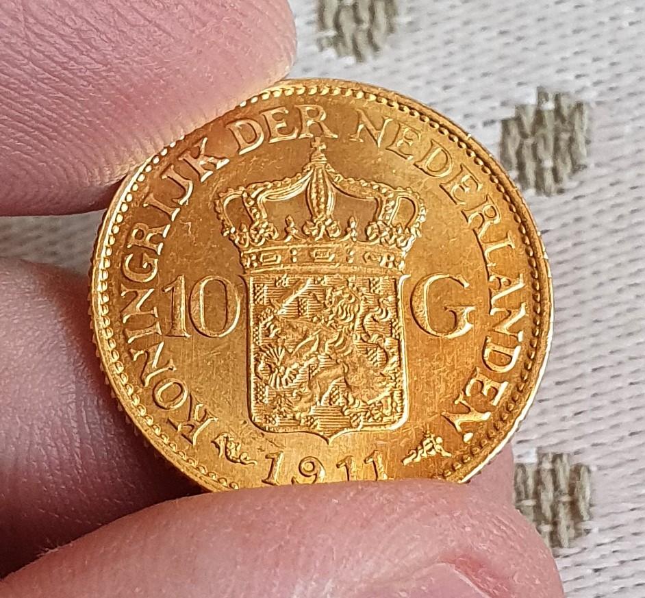 Oro. 10 Gulden 1911. Países Bajos. Opinión. 20210611