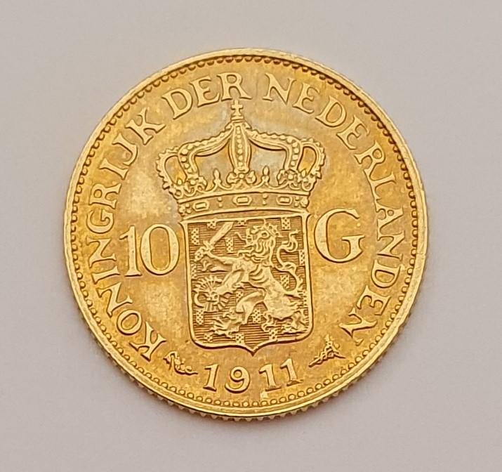 Oro. 10 Gulden 1911. Países Bajos. Opinión. 20210616