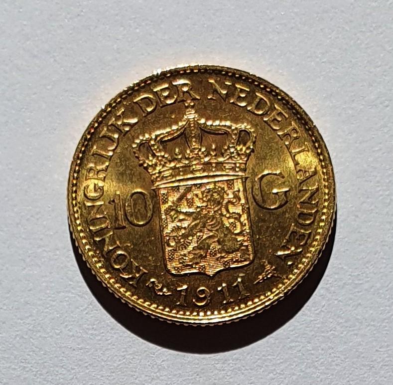 Oro. 10 Gulden 1911. Países Bajos. Opinión. 20210617
