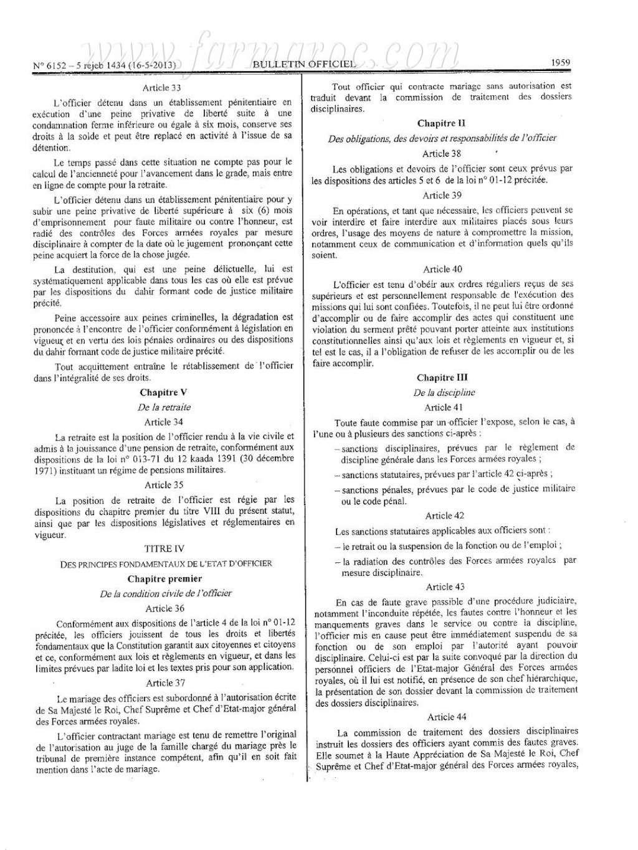 nouveau Statut particulier des officiers des FAR Statut13