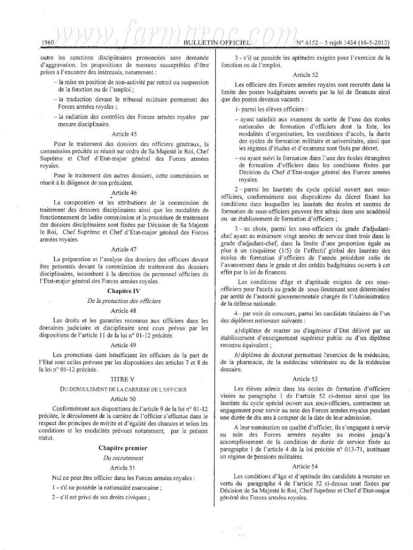 nouveau Statut particulier des officiers des FAR Statut14