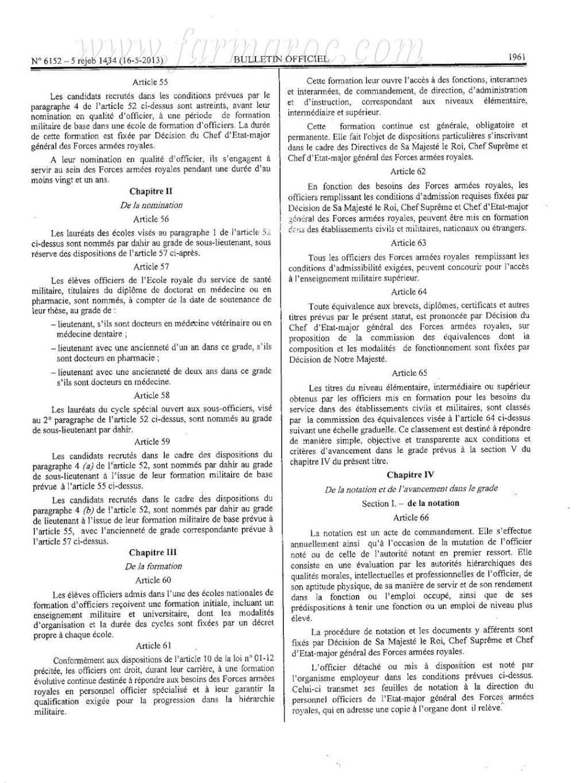 nouveau Statut particulier des officiers des FAR Statut15