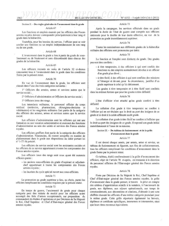 nouveau Statut particulier des officiers des FAR Statut16