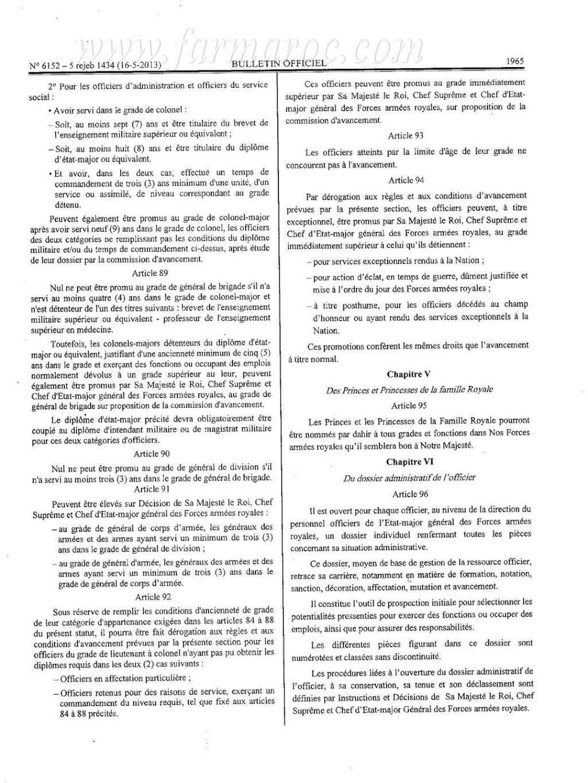 nouveau Statut particulier des officiers des FAR Statut19