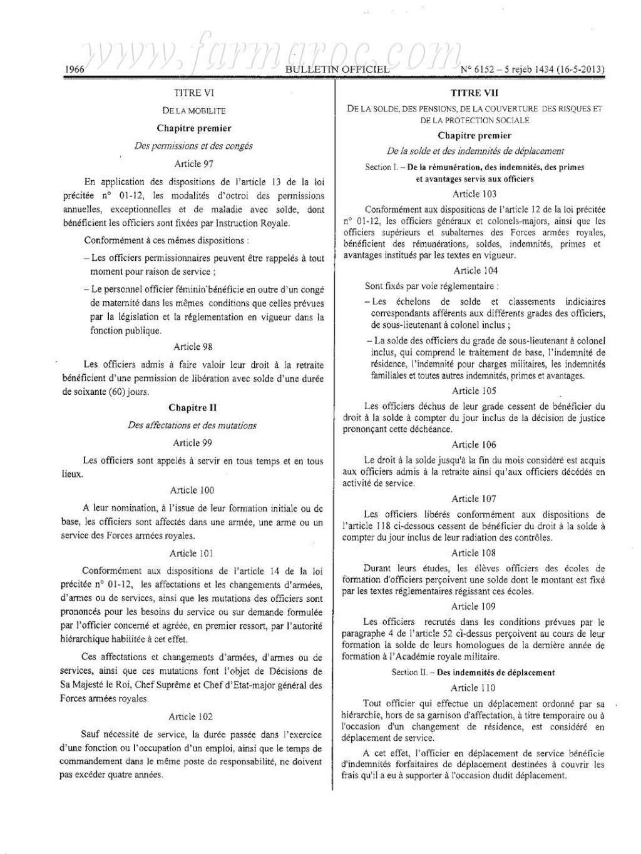 nouveau Statut particulier des officiers des FAR Statut20