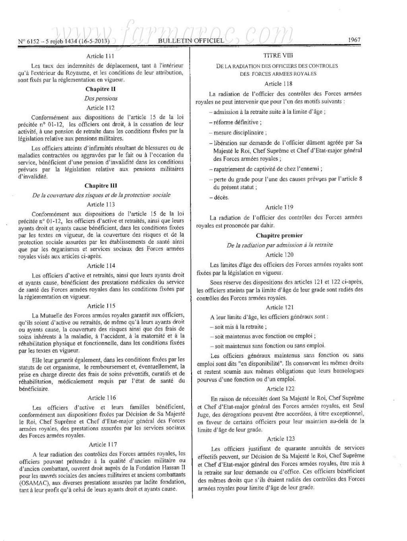 nouveau Statut particulier des officiers des FAR Statut21