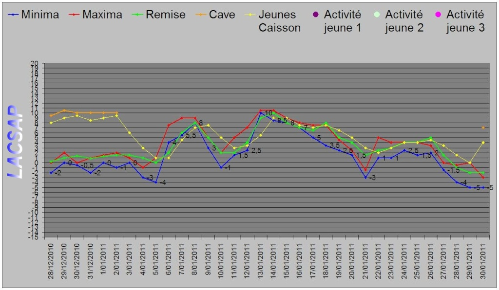 Protection hivernales en BEL et relevé température 2010-2011 Graphi12