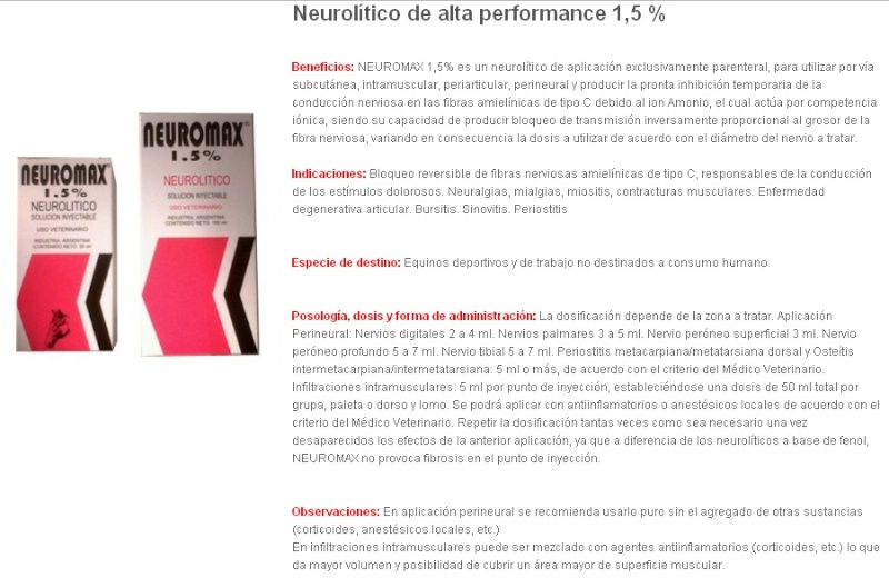 NEUROMAX 1,5 %  INFILTRACIONES $ 20.000.- FRASCO 50 ML Neurom11