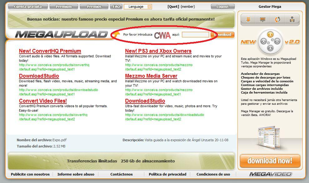 Como descargar archivos de Megaupload o similares Mega0110