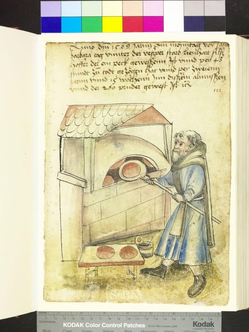 représentation de boulanger / pain / four / vendeurs de pains Folio_19