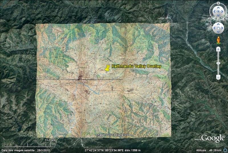 Overlay - Carte Topo - Vallée de Kathmandou - Népal Kath110