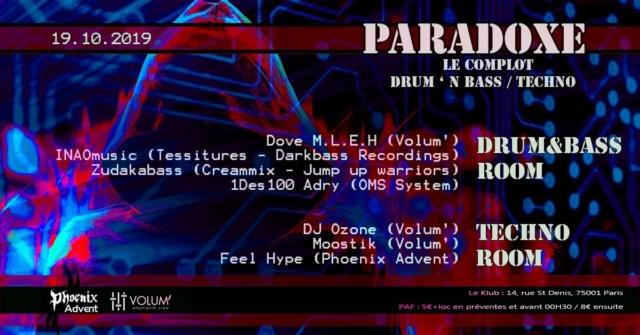Paradoxe, le complot DNB/Techno: 19/10/19 - Le Klub 75001 Parado10